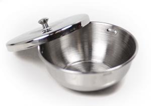 Чашечка для взбивания пены для бритья (с крышечкой), сталь